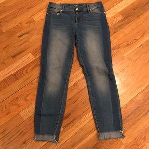 Loft Raw Step Hem Modern Skinny Two Tone Jeans